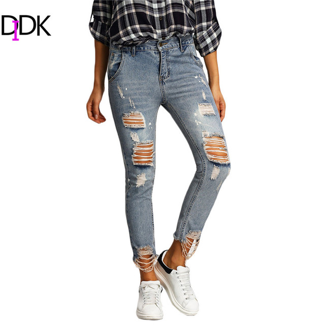 b0b783e861 Women Summer Trousers 2016 Ladies Casual Blue Zipper Fly Mid Waist Ripped  Distressed Skinny Ankle Length