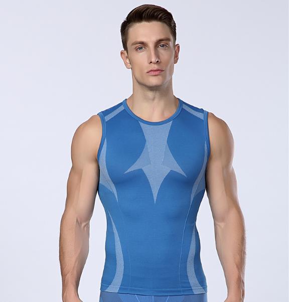 Mens compresión chaleco apretado chaleco de gilet de la piel capa base Gimnasio Excercise camisas sin mangas de la ropa interior