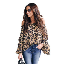 Frauen Slash Neck Blusen Leopard Drucken Casual Shirt Damen Langarm Bluse off schulter top Hemd bluse et chemisier femme(China)