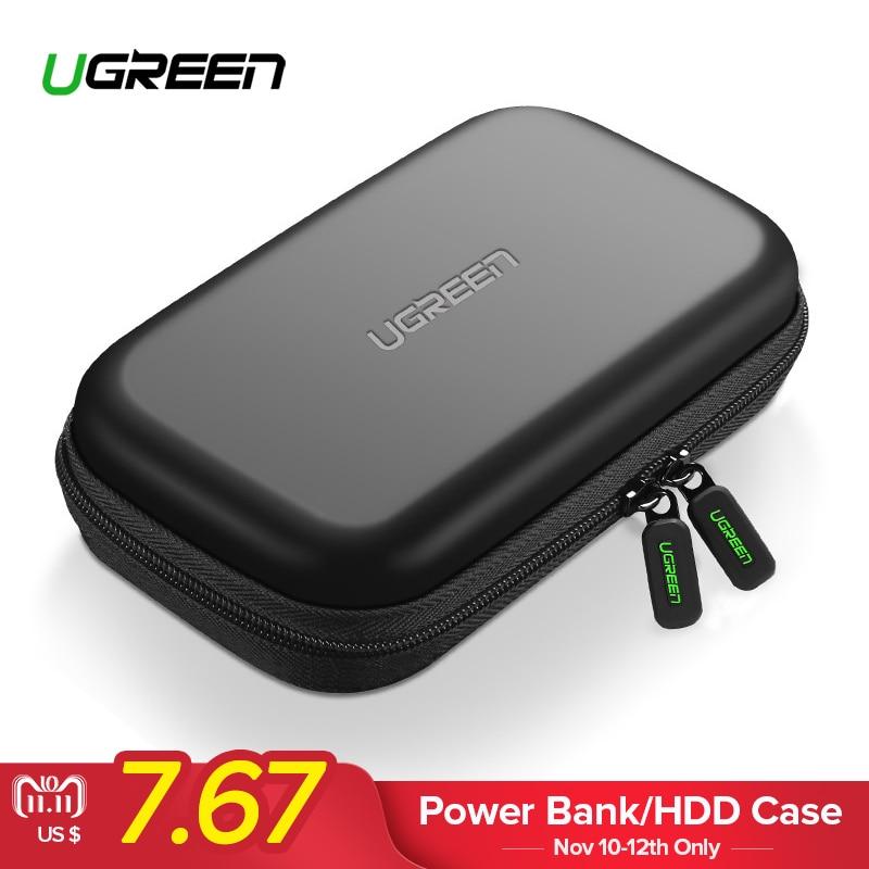 купить Ugreen Power Bank Case Hard Case Box for 2.5 Hard Drive Disk USB Cable External Storage Carrying SSD HDD Case по цене 574.3 рублей