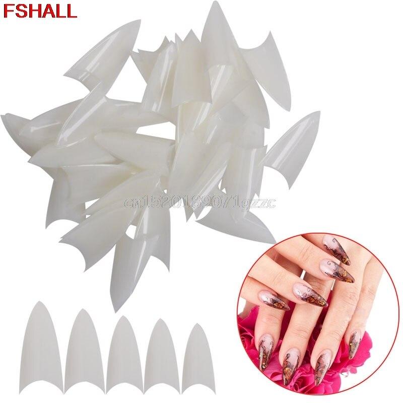 500PCS Clear Natural White False Point Stiletto Acrylic UV Gel Nail Tips Beauty #H027#