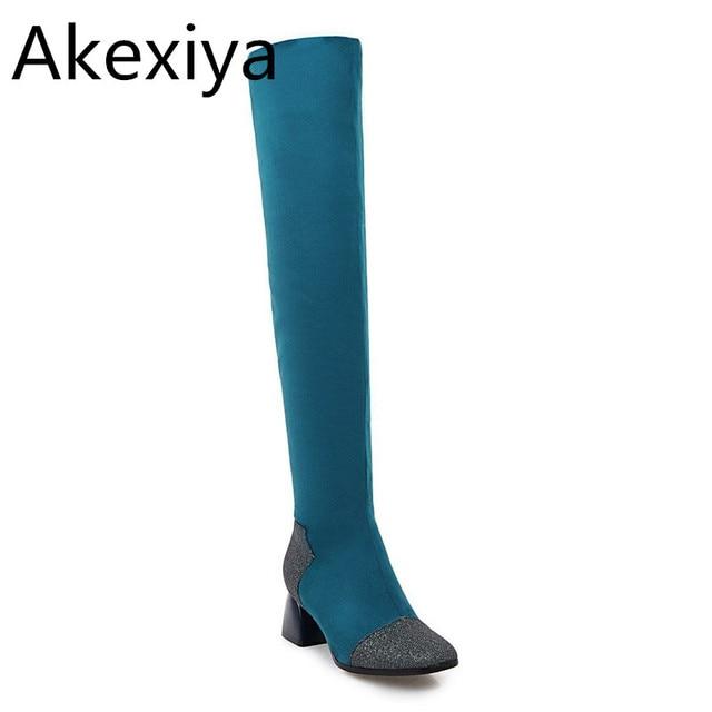 27747b57a27 Akexiya Sexy black thigh high boots women high heel shoes woman Sheep Suede  Short Pants High Quality