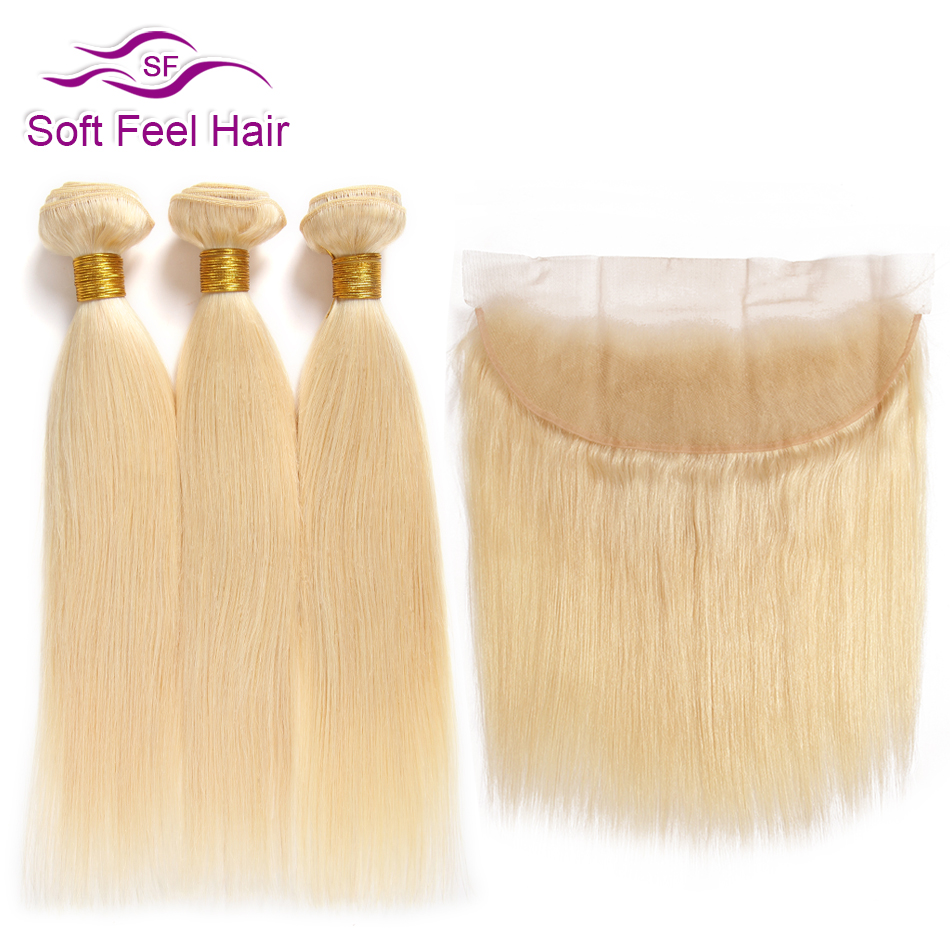 Soft Feel Hair 613 Blonde Brazilian Straight Hair 3 Bundles With Frontal 13x4 Remy Human Hair