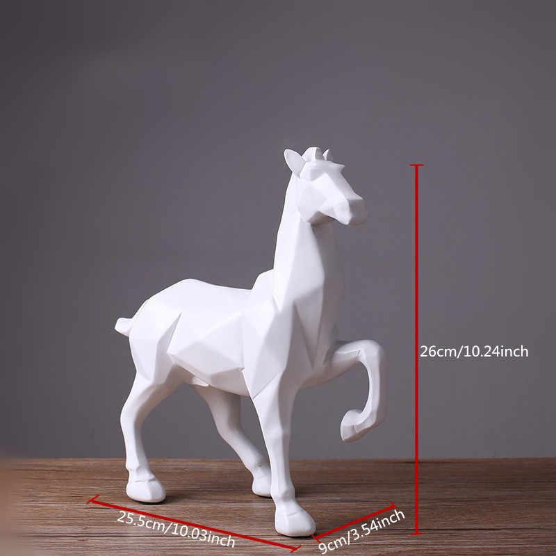 現代抽象白馬像樹脂の装飾品家の装飾の付属ギフト幾何樹脂ブラック馬の彫刻