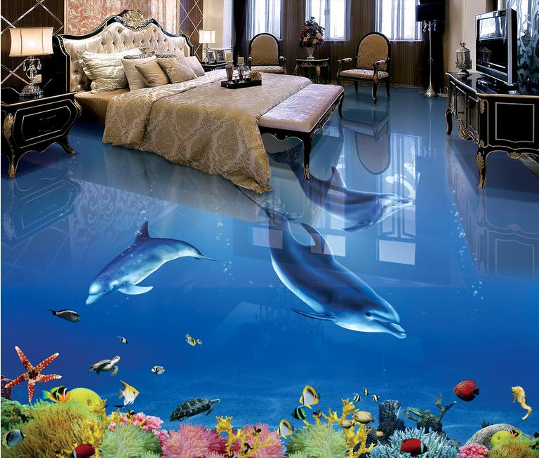 3d floor waterproof mural wallpape Dolphin Underwater World 3d floor stereoscopic wallpaper papel de parede 3d europeu floor free shipping custom dolphin under sea world floor mural children room school nursery waterproof floor wallpaper mural