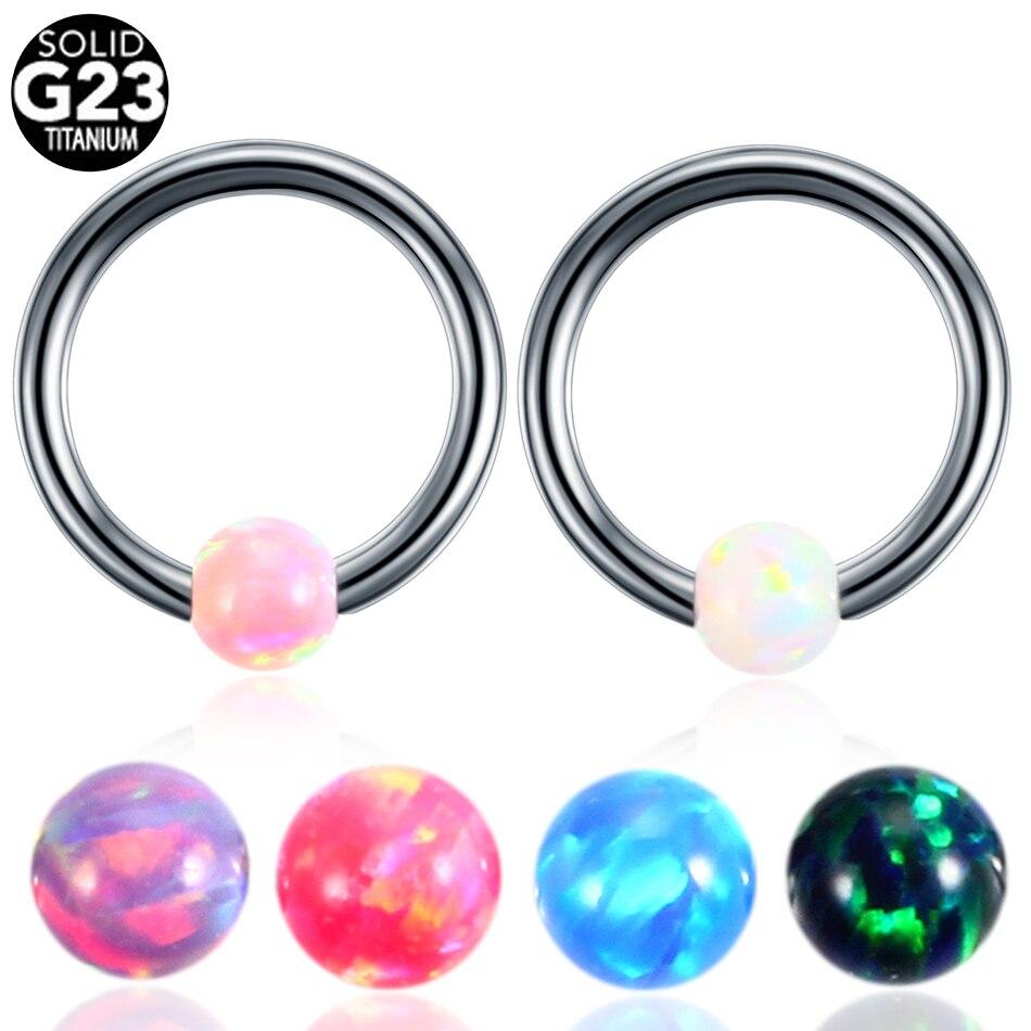 1PC G23 Titanium CBR Captive Bead Rings BCR Opal Ball Closure Nipple Lip Tragus Eyebrow Earrings Septum Piercing Fashion Jewelry bead