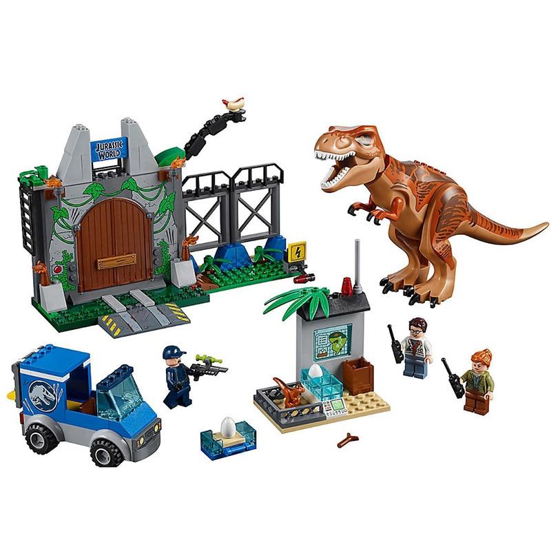 Bela 10920 Tyrannosaurus Rex Breakout Jurassic Dinosaur World Bricks Building Block Toys Compatible With Legoings Juniors 10758 6 8 16 24pcs set jurassic dinosaur world 2 figure building block bricks toy tyrannosaurus rex compatible with legoing dinosaur
