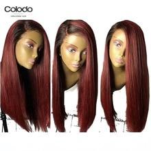 COLODO 99j парик фронта шнурка натуральный цвет бразильские прямые волосы Реми 150% плотность бесклеевая Омбре голубые парики для черных женщин