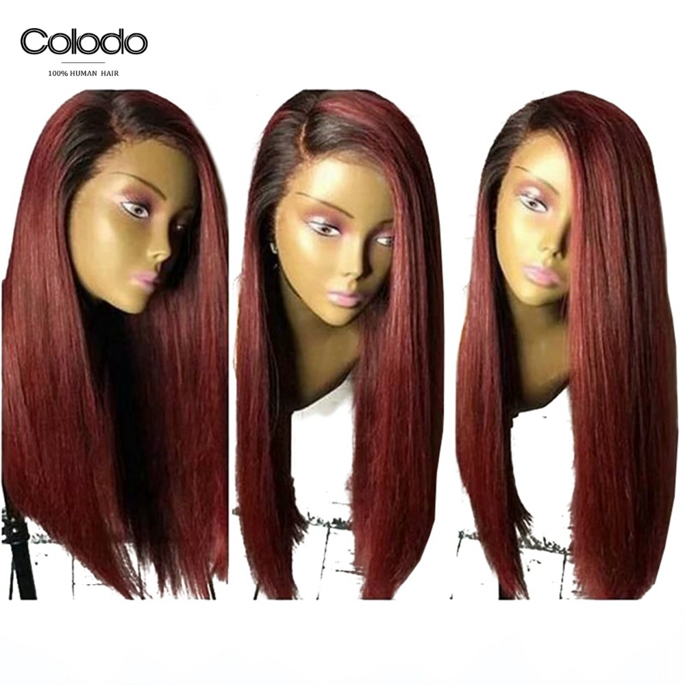 COLODO 99j Lace Front Wig Natural Color Brazilian Remy Straight Hair 150% Density Glueless Ombre Blue Wigs For Black Women