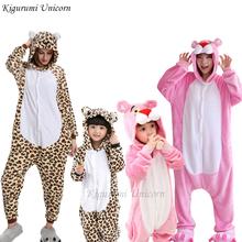 Kigurumi jednorożec piżamy dla dziewczynek chłopców dorosłych zwierząt leopard piżamy zestawy piżamy zimowe ściegu kobiet Onesie piżamy dzieci tanie tanio Kigurumi Unicorn Poliester 85-185cm height D-201906202 cartoon Pasuje prawda na wymiar weź swój normalny rozmiar Pełna