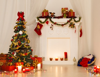 Christmas gifts backdrops newborn fireplace photography backdrop Christmas  Art fabric photo background D-4107
