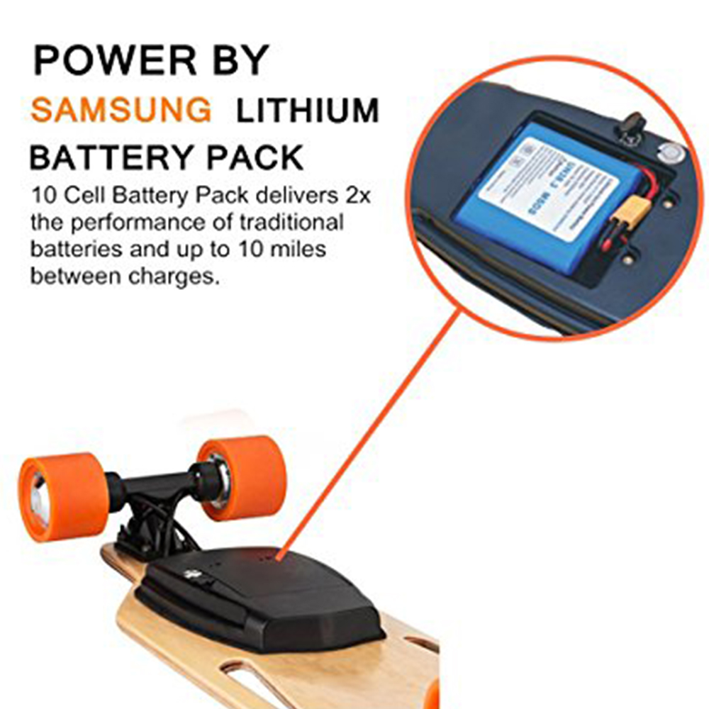 Maxfind electric skateboard samsung battery 10 cells cores 36V 3500mAh for electric skateboard maxfind electric skateboard longboard 4 wheels hub motor samsung battery for adults