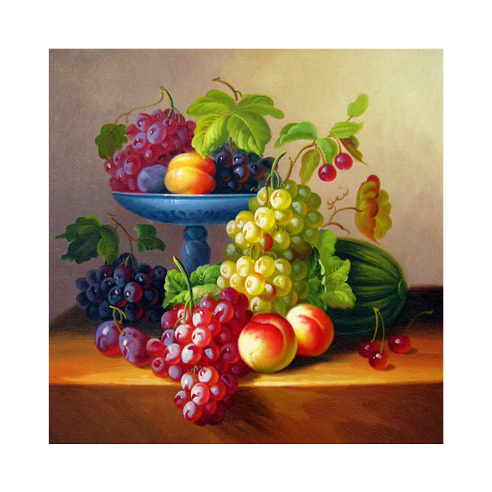 Fruit Grape 5d Embroidery Round Diamond Paintings Mosaic Picture Pasted  Cross Stitch Needlework For Home Decoration