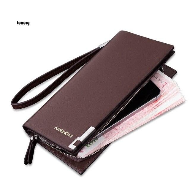 Free shipping 2017 New men wallet male long design wallet wrist length bag male wallets genuine leather clutch men's Boss wallet