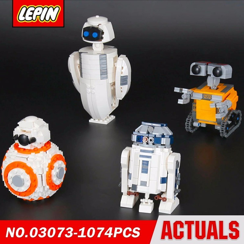 Lepin  03073 Robots 4in1 Wall-e Eve Bb-8 R2d2 Star Series Wars Model Building Block Brick Kits Compatible Gift Toys lepin 22001 pirate ship imperial warships model building block briks toys gift 1717pcs compatible legoed 10210