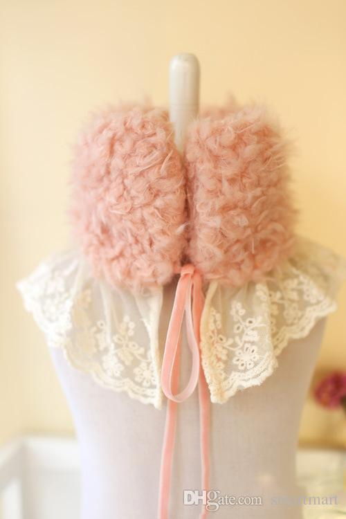 Ins Sweet Baby Kids Fleece Lace Scarf Wraps Pink and Beige Color Fall Winter Scarves Cute Baby Accessories