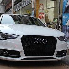 A5 RS5 Estilo Negro Piezas Del Coche Exterior Carreras Frontal Parrilla de la Parrilla para Audi A5 2012-2015 ABS RS5 Emblema Logo