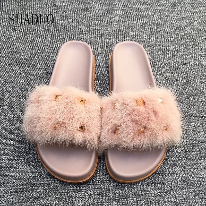 2018 SHADUO Top quality Genuine Leather Mink hair rivet slippers flat slippers