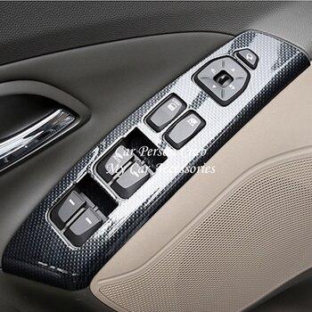 Accesorios para Hyundai ix35 2010-2015 cubierta del reposabrazos de la puerta Interior de cristal de la ventana del interruptor del botón estilo