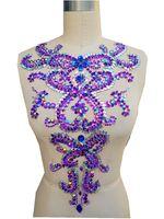 A301-3 fatto a mano viola/clear AB colore sew on Strass applique patch di cristallo trim 46*30 cm per dress accessory