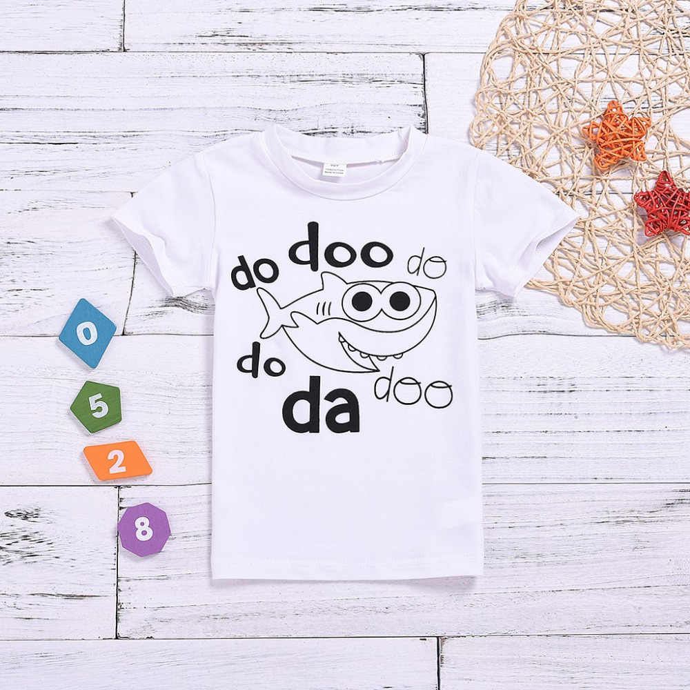 MUQGEW, Tops para niños, camisetas de manga corta para bebés, dibujos y letras estampado de tiburones, camisetas para niños, camisetas para niños