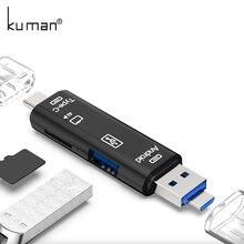 Kuman 2,0 OTG кард-ридер USB MicroUSB TypeC интерфейс с Micro SD USB TF слот для карт Y211 флэш-карт памяти для телефона