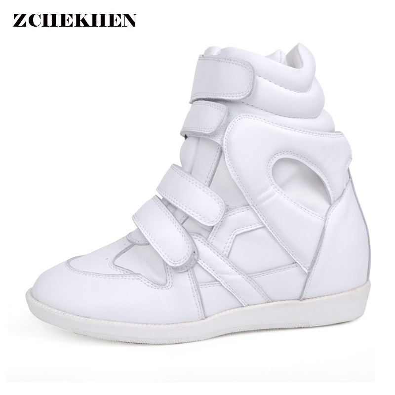 100% QualitäT Designer Frauen Keile Haken Schleife Schuhe Atmungs Höhe Zunehmende Stiefeletten Weiche Sohle Turnschuhe Zapatos Botas De Mujer In Vielen Stilen