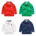 En la primavera de 2017 nuevos niños de manga larga Camiseta Solapa de la camisa brillante estrella sólida niños bebé abrigo del todo-fósforo