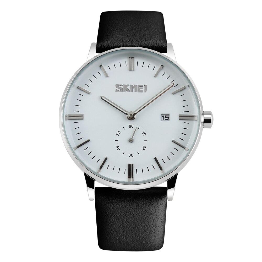 Marca de Luxo Relógio de Pulso m à Prova Novo Homem Relógio Masculino Dwaterproof Água Data Pulseira Couro Casual Quartzo Esportes Skmei 9083 30