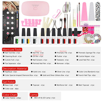 GDCOCO home nail gel polish tools 66pcs/set led gel nail brush paint gel lamp nail art decoration rhinestones wheel full set