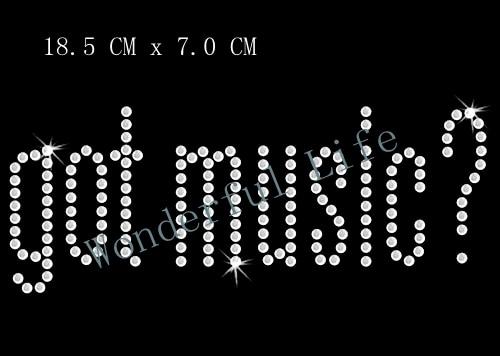 Wonderful life Wholesale free shipping white clear crystal got music words hotfix  iron on rhinestone transfer designs-in Rhinestones from Home   Garden on ... aad75b0c94dd