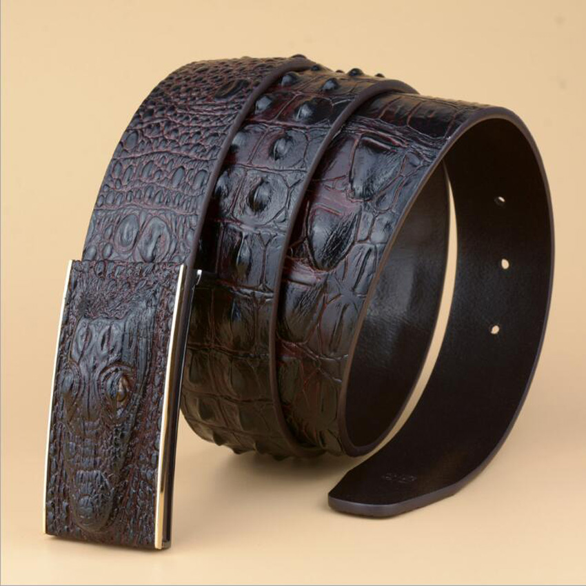 3D Crocodile Men Genuine Leather Belt Alligator Leather Belts Jeans Waistband Black Coffee Brown Quality Guarantee ZLB119