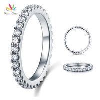 Micro Set Eternity Solid 925 Sterling Silver Wedding Christmas Present Gift Ring CFR8045