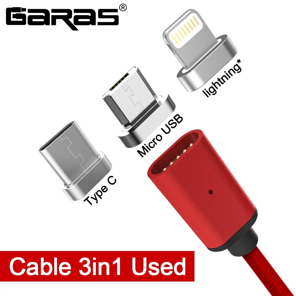 GARAS Magnetico Cavo Fulmine Micro USB Tipo C 3in1 Telefono Mobile Magnet Cavo di Ricarica Veloce Magnetico Micro USB Cavo Adattatore