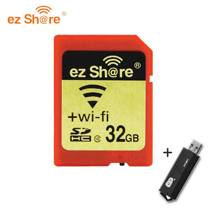 D'origine EZ partager la Mémoire sd wifi 32 gb 16g sans fil Carte De L'action 4g 8g Classe 10 64g 128g pour canon/nikon/sony carte lecteur de carte Gratuit