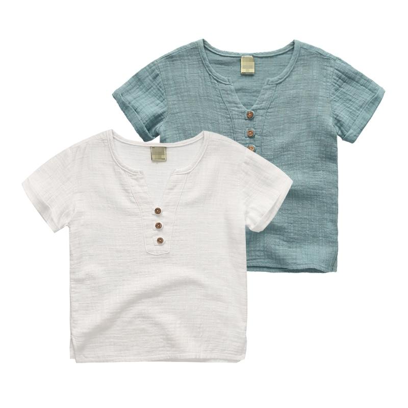 Kids Short Sleeve T Shirts Cotton Linen Children S