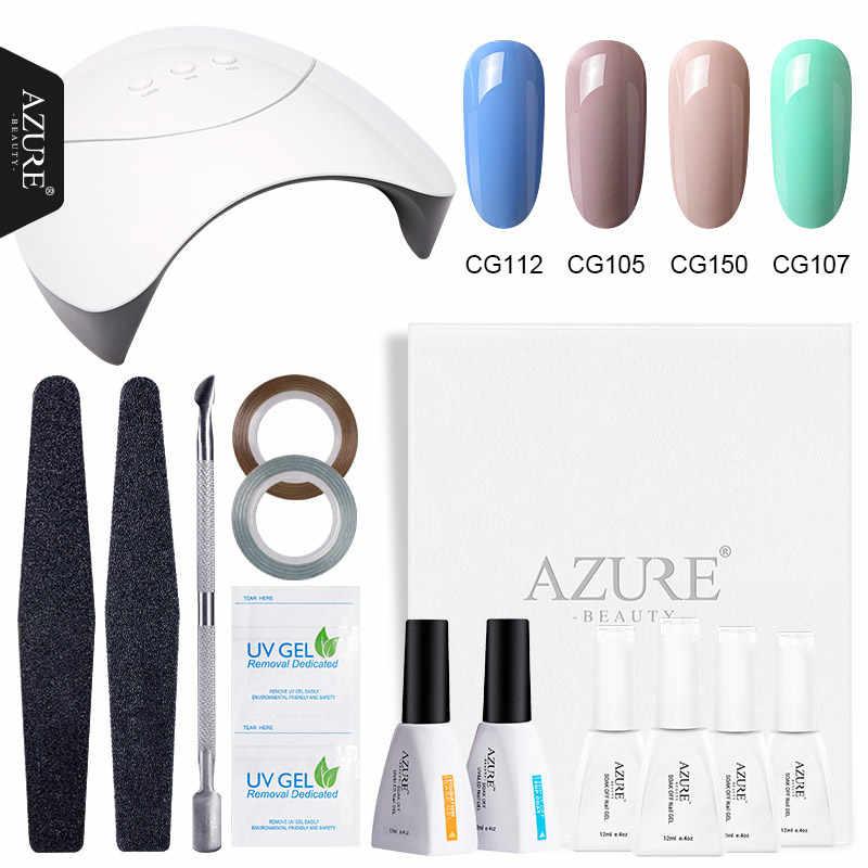 Azure Beauty 12 Pcs/Banyak Pengguna Pemula Kuku Seni Alat Set 4 Warna Gel Polish Rendam Off Base Top Coat Nail gel Lacquer 36 W Kit