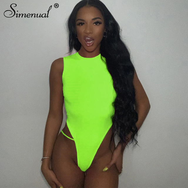 Simenual de neón Color Sexy mujer sin mangas Bodycon una pieza mono básica de moda verano Slim mono sólido caliente 2019