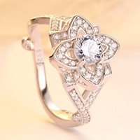 Fashionable 925 sterling silver jewelry female flower big ring for women trendy valentine's day