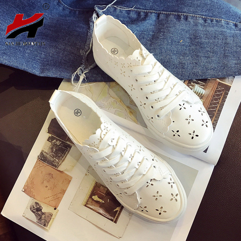 2018 Spring And Autumn New Breathable Net Women Shoes White Shoes Students Leisure Lazy Casual Canvas Shoes
