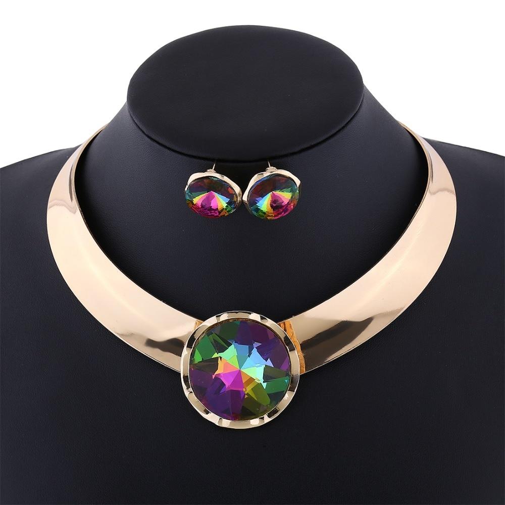Arany ékszer szett Punk Choker fülbevaló acél nyomaték ékszerek nagy kristály ékszer szett nők nyilatkozat nyaklánc Duftgold