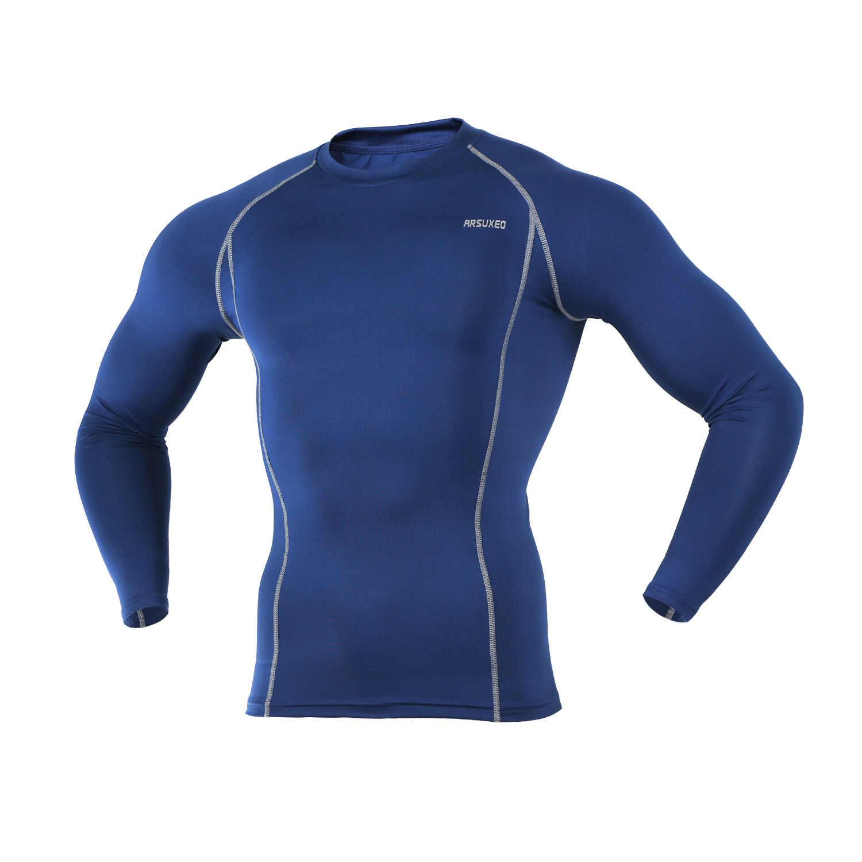Мужское нижнее белье для велоспорта, обтягивающие с длинным рукавом, облегающие футболки для бега, спортивные футболки для фитнеса