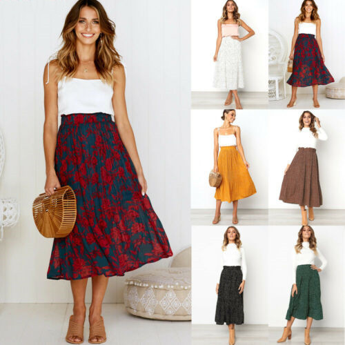 Summer Skirts 2019 New Women Summer Casual Elastic High Waist Floral Dot Loose A-lined Skirts Size S-XL
