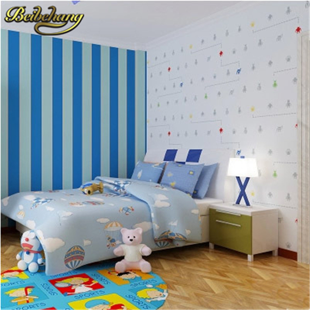 Beibehang Papel Parede Papel Mural Arrival Robot Living Room Decor  Wallpaper Children Bedroom Stripes Wall Paper
