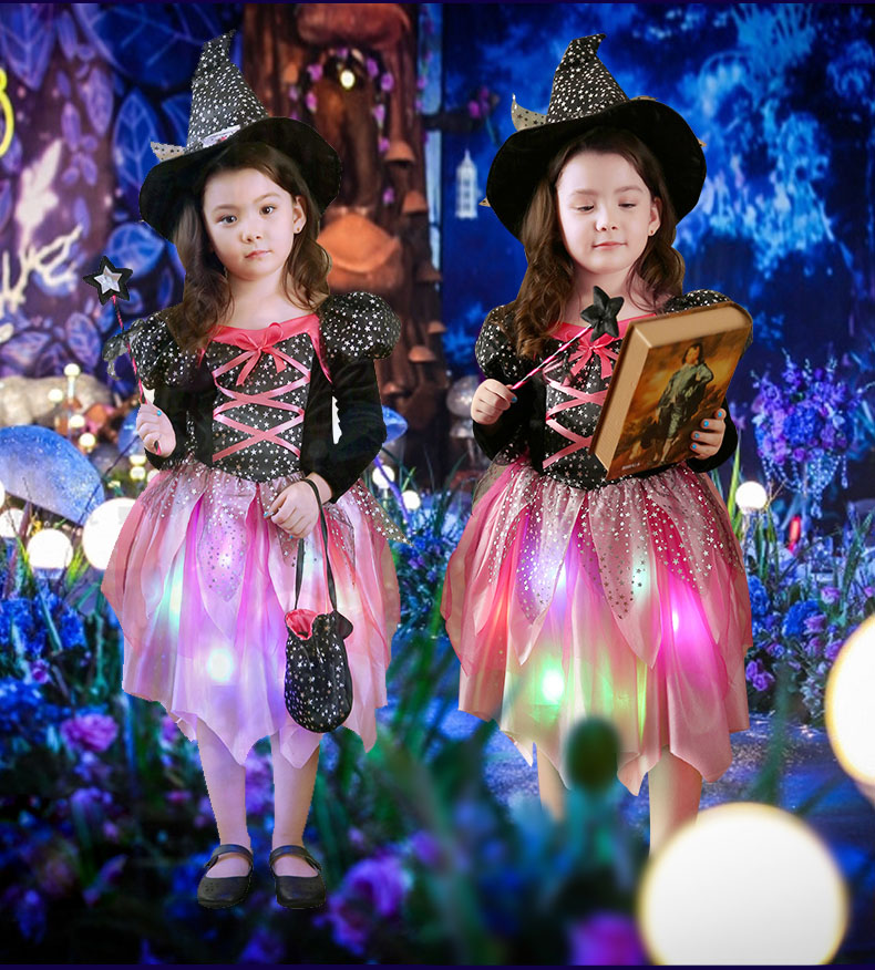 2018 New Kids LED Light Witch Costume Children Girls Cosplay Costumes Halloween Carnival Party Fancy Dress Decoration Purim