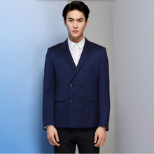 Blue men suits jacket double breasted men's wedding tuxedos jacket tailor made formal business work suits jacket