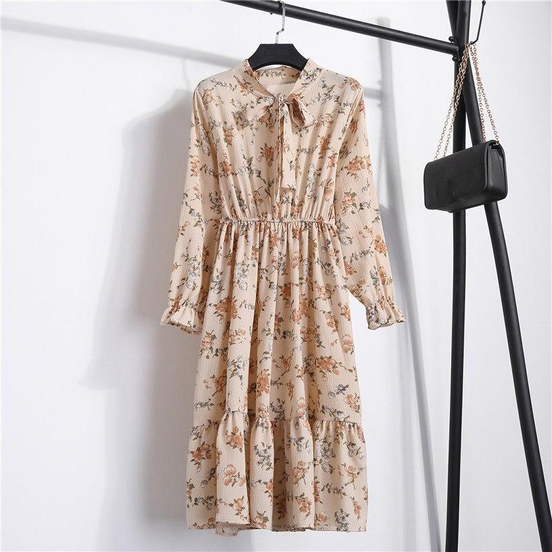 Summer Korean Chiffon Women Dress Elegant Ladies Vintage Long Dress Boho Floral Office Long Sleeve Vestidos Clothing 5LYQ003 38