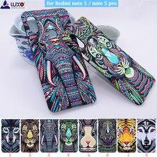 Luxo rei série animais faces cobrir animais leão lobo elefante padrão duro de volta caso telefone para xiaomi redmi nota 5 nota 5 pro