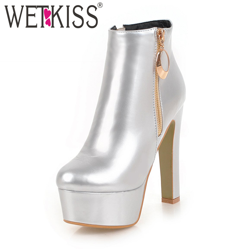 WETKISS Plus Size 34-47 Mirror Pu High Heels Ankle Women Boots Round Toe Footwear Platform Female Boot Party Shoes Woman Winter enmayer bling platform shoes woman round toe ankle boots for women high heels zippers white shoes plus size 34 47 winter boots