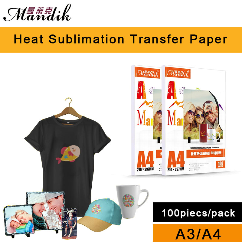 100gsm A3 A4 100 sheets per lot inkjet printing sublimation heat transfer photo paper